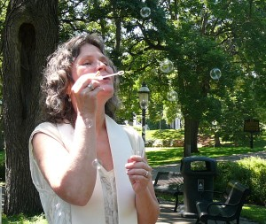 Rev Katy Blowing Bubbles